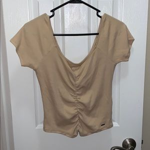 Beige Fitted Tee with Cinching Down the Middle